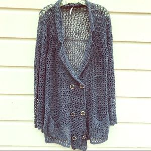 Free People slouchy grey loose-knit cardigan XS